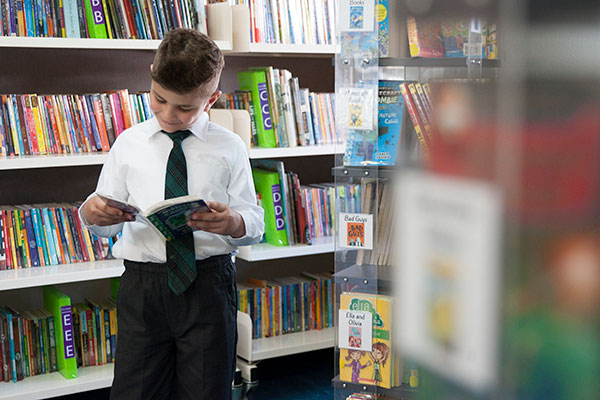 Student reading a book in the St Peter Chanel Catholic Primary School Regents Park library